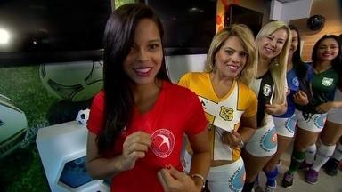 Musas do Candangão visitam redação do Globo Esporte e respondem perguntas sobre seus time - Musas do Candangão visitam redação do Globo Esporte e respondem perguntas sobre seus time
