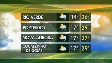Confira a previsão do tempo para esta semana em Goiás - Mínima em Rio Verde deve ser de 14ºC; Cocalzinho de Goiás pode ter máxima de 29ºC.