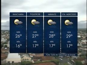 Tempo instável continua no Oeste Paulista - Pancadas de chuva podem aconteceu durante o dia.