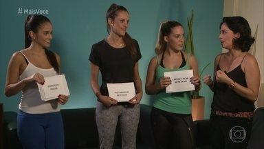 Desafio bumbum na nuca: Gabriela, Patricia e Victória descobrem que tratamentos vão fazer - As três recebem orientações nutricionais para a dieta voltada para os glúteos e conhecem o planejamento individual de cada tratamento