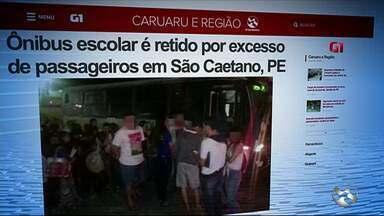 Ônibus escolar é retido por excesso de passageiros em São Caetano - Veículo com 44 lugares transportava 70 universitários na BR-232, diz PRF.