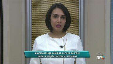 Governo revoga portaria que acabaria com bolsas do PIBID na região de Guarapuava - Decisão já tinha causado polêmica e revolta nos estudantes. Com a nova decisão, projetos estão mantidos.
