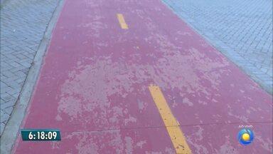 Pintura da pista de ciclismo do Parque Solon de Lucena descascou - Parque foi inaugurado há menos de duas semanas.