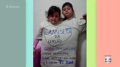"""Pais fazem a """"camiseta da união"""" que obriga irmãos a fazerem as pazes - Padre Fábio de Mello e o educador, Marcelo Cunha Bueno, dão dicas para pais que sofrem com a briga dos filhos"""