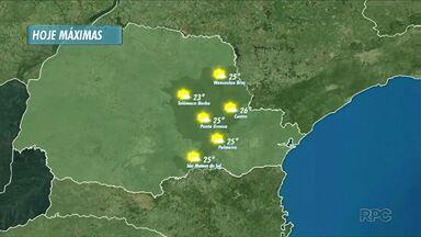 Previsão de sol para o começo da semana em todas as regiões - Veja no mapa as máximas previstas para as regiões do Norte Pioneiro, Sul e Campos Gerais, do Paraná.