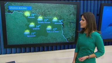 Previsão de chuva para esta quarta-feira - A chuva traz junto o frio. A mínima prevista é de 11 graus em Apucarana.