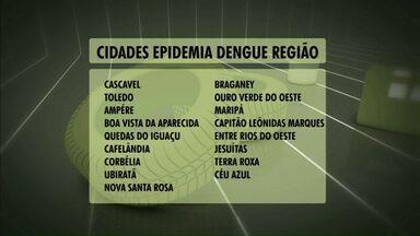 Cascavel está na lista das cidades com epidemia de dengue - Números foram divulgados pela Sesa nesta terça-feira.
