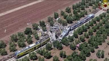 Acidente de trem no Sul da Itália deixa mortos e feridos - Colisão foi na região de Puglia; três vagões foram destruídos. Trens se chocaram de frente a toda velocidade.