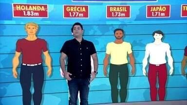 Pesquisa mostra tendência de crescimento da estatura em todo o mundo - Brasileiros estão na média. Fátima compara sua altura com a média das mulheres na Letônia