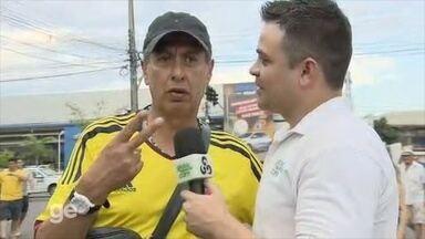 Torcedor 'arrisca' placar para jogo da Colômbia - Colômbia enfrenta a Suécia na Arena da Amazônia.