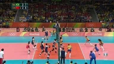 5º set: China vira bola e abre dois de vantagem. 7/9 - 5º set: China vira bola e abre dois de vantagem. 7/9
