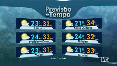 Confira a previsão de tempo para esta quinta-feira (18) no Maranhão - Em São Luis a variação nos termômetros fica entre 23 e 32 graus. A cidade de Presidente Dutra registra máxima de 33 graus. Em Santa Quitéria o dia é quente e a máxima fica nos 34 graus. O município de Pinheiro tem uma variação entre 24 e 32 graus.