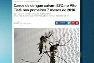 Casos de dengue caíram 82% no Alto Tietê nos primeiros sete meses deste ano - A maior redução foi em Guararema, de 98,51%. Já em Suzano, a redução foi de 25,5%.