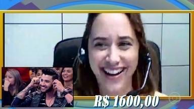 Gusttavo Lima participa de brincadeira no palco do Caldeirão - Andréa de Brasília ganha R$ 1.600,00.