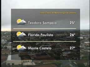 Tempo segue instável no Oeste Paulista - Veja como ficam as temperaturas em algumas cidades.