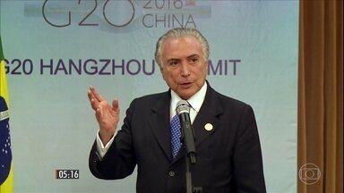 Presidente Michel Temer participa de reunião do G20 na China - O encontro, que reúne os 20 países mais ricos do mundo, termina nesta segunda-feira (5). Veja os detalhes.