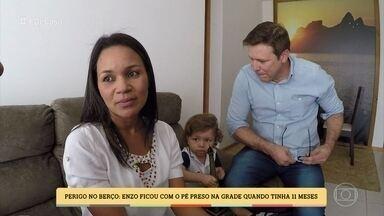 Rebeca e Marcos contam acidente com filho por causa de berço inadequado - Os pais confessam que só se preocuparam com a beleza do móvel na hora da compra