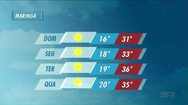 Domingo será ensolarado e quente em Maringá - Para terça-feira a temperatura máxima prevista é de 36 graus.