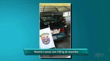 Após perseguição, motorista é preso com 148 kg de maconha no carro - A apreensão foi realizada pela Polícia Rodoviária Estadual, entre Tamboara e Paranavaí, nesta quinta-feira.