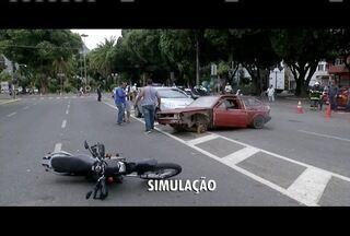 Ações de conscientização marcam Semana Nacional do Trânsito em Valadares - Simulação de acidente serviu para ilustrar cuidados com o trânsito.