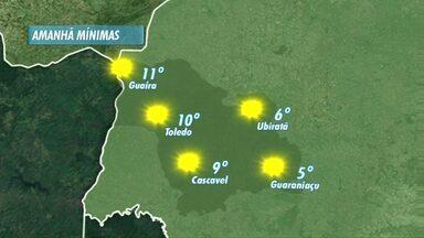 Quinta-feira vai começar com friozinho em algumas cidades - Na sexta-feira a tarde vai ser quente com máxima de 30 graus em Cascavel.