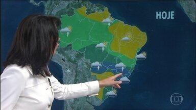 Tempo fica instável no centro-sul do Brasil até quinta-feira (6) - Nesta terça-feira, tem previsão de chuva volumosa na Região Serrana do Rio, sul do Espírito Santo e Zona da Mata Mineira.