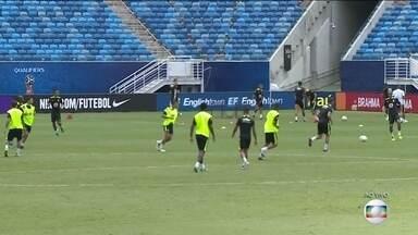 Seleção treina na Arena das Dunas e Tite confirma Paulinho no meio de campo - Jogador que estava fora por suspensão, vai jogar contra a Venezuela. William vai entrar em campo pela direita do ataque.