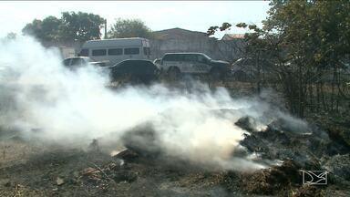 Clima seco e falta de chuva aumenta risco de incêndio em São Luís, MA - Neste sábado (22) por pouco uma fábrica de pré-moldados não foi destruída pelo fogo.