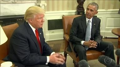 Trump diz que pedirá conselhos a Obama, após reunião na Casa Branca - Obama recebeu o presidente eleito e disse que reunião foi 'excelente'. Trump afirmou que espera poder estar com Obama muitas vezes no futuro.