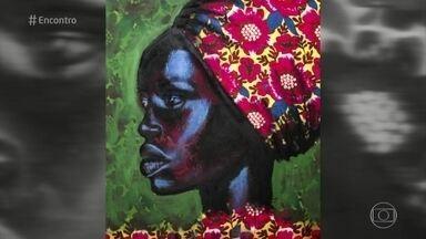 Telão do Encontro: Aline Miguel é a artista da semana - Artista usa tecidos como base para suas pinturas