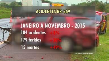 Número de mortes na BR-369 dobrou do ano passado pra cá - De janeiro a novembro de 2016, 29 pessoas morreram, vítimas de acidentes de trânsito nesta rodovia, no trecho em Cascavel e Campo Mourão
