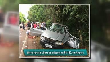 Criança de 5 anos é a terceira vítima de acidente em Ampére - Além do menino, morreram também o pai e uma irmã. Apenas a mãe sobreviveu ao acidente.