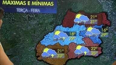 Chuva forte pode atingir várias regiões de Goiás nesta terça-feira (6) - Temperaturas continuam altas em todo o estado.