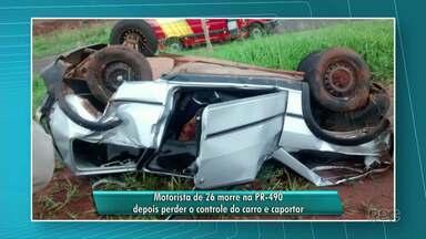 Jovem capota carro e morre em acidente na PR-490 - Acidente foi entre Iporã e Altônia
