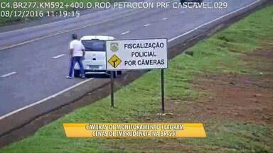 Câmeras de videomonitoramento da PRF flagram cenas de imprudência na BR-277 - Muitas infrações são registradas pelas lentes.