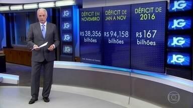 Contas do governo registram rombo recorde em novembro - As contas do governo central - Tesouro, Previdência e Banco Central - registraram um rombo recorde em novembro.