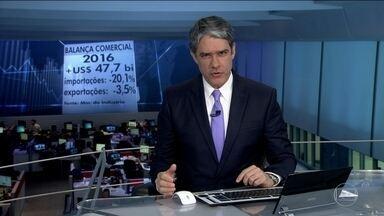 Balança bate recorde e fecha 2016 com superávit de US$ 47,7 bilhões - Em 2016, o Brasil exportou US$ 47,6 bilhões a mais do que importou. Esse foi o maior superávit comercial registrado desde o início da série histórica do Ministério da Indústria, Comércio Exterior e Serviços, em 1989.