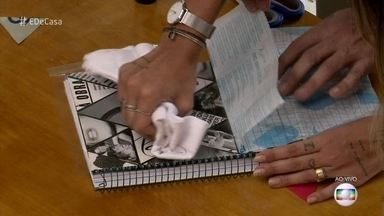 Confira dicas para dar cara nova a cadernos usados - Karina Milanesi ensina a fazer colagem e reaproveitar os materiais escolares