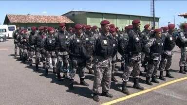Roraima recebe 96 agentes da Força Nacional de Segurança - Eles vão apoiar a guarda dos presídios e a segurança do estado inteiro. Estado pediu reforço após morte de 33 presos na penitenciária agrícola.