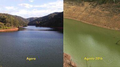 Seca no ES: fotos mostram antes e depois da represa de Rio Bonito - Imagens desta semana mostram que água quase cobre toda a borda.Em agosto de 2016, nível da água estava tão baixo que bordas apareciam.