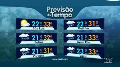 Veja a previsão do tempo para esta quinta-feira (12) no MA - A previsão é de sol e pancadas de chuva em algumas áreas do estado do Maranhão.