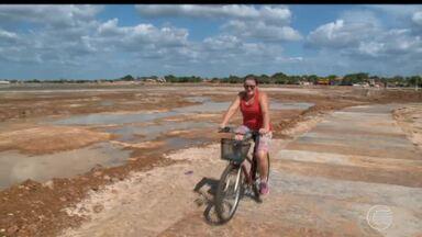 Açude de Campo Maior está quase seco e obra de revitalização do local está parada - Açude de Campo Maior está quase seco e obra de revitalização do local está parada