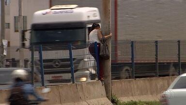 Pedestres se arriscam para atravessar BR-153, em Goiânia - Pessoas são vistas danificando alambrado para passar pela rodovia.