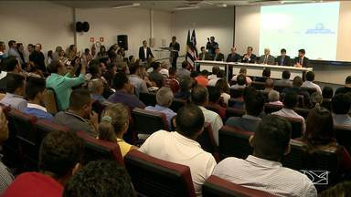 Presidente da Funasa realiza reunião com prefeitos do MA - O presidente da Funasa se reuniu com prefeitos para falar do saneamento básico nos municípios maranhenses.