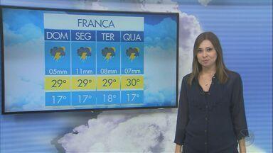 Veja a previsão do tempo para o domingo (5) na região de Ribeirão Preto - A semana começa com chuva na maior parte das cidades.