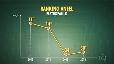 Eletropaulo é a 3ª pior distribuidora de energia do país em ranking da Aneel - Posição foi de 11º lugar em 2013 para 30º no ano passado. Distribuidora de energia diz que aumentou investimentos e contratação de funcionários.