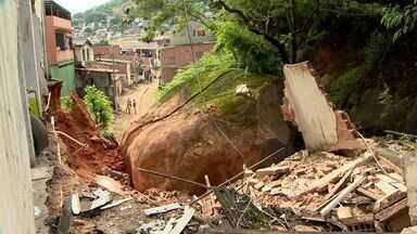 Pedra de duas toneladas será retirada aos poucos em Vila Velha, ES - Serão utilizados rompedores para fragmentar a rocha.