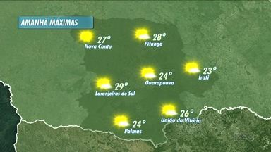 O sol predomina amanhã em boa parte do dia - Teremos uma manhã com temperaturas mais amenas e durante à tarde, as temperaturas sobem mais.
