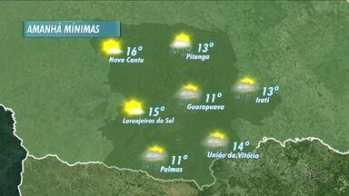 Sexta-feira pode ser chuvosa na região - A mínima chega aos 11°C em Guarapuava.