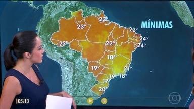 Confira a previsão do tempo para a quarta-feira (5) - Veja como fica o tempo em todo país.